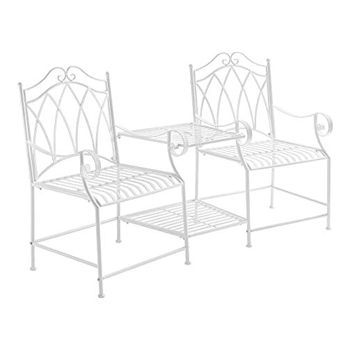 SoBuy OGT44-W Gartenstühle mit Tisch Gartenbank Balkonstuhl Gartenmöbel Sitzgruppe 2 Stühle Set Gartengarnitur weiß