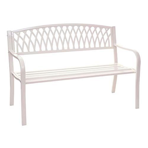 Mendler Gartenbank HWC-F45, Bank Parkbank Sitzbank, 2-Sitzer pulverbeschichteter Stahl - weiß