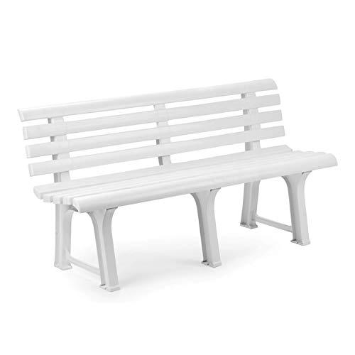 Mojawo Exclusive Gartenbank | 3 Sitzer | Kunststoff | strapazierfähig | 145x49x74 cm | Parkbank Bank Balkonbank Gartenmöbel | Weiss