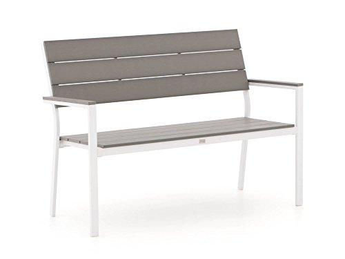 Bellagio Stabile Bravo Gartenbank 2 Sitzer | Aluminium Gartenbank 128 cm, Sitzbank für Garten oder Balkon | Wetterfest, pflegeleicht und Zeitloses Aussehen (Weiß, Grau, Kunststoff)