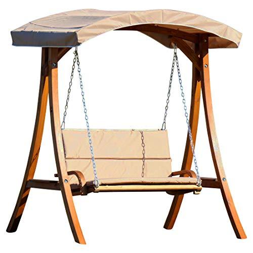 ASS Design Hollywoodschaukel Gartenschaukel Schaukelbank Rio aus Holz Lärche mit Dach und Polsterauflage braun
