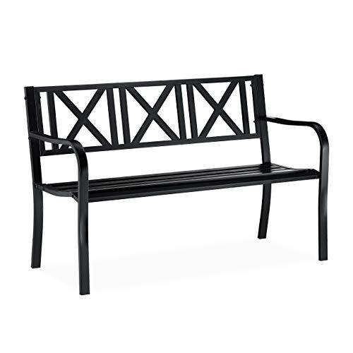 Relaxdays Gartenbank aus Metall, 2-Sitzer, wetterfest, für Terrasse, Balkonbank HxBxT 81 x 127 x 56 cm, Stahl, schwarz