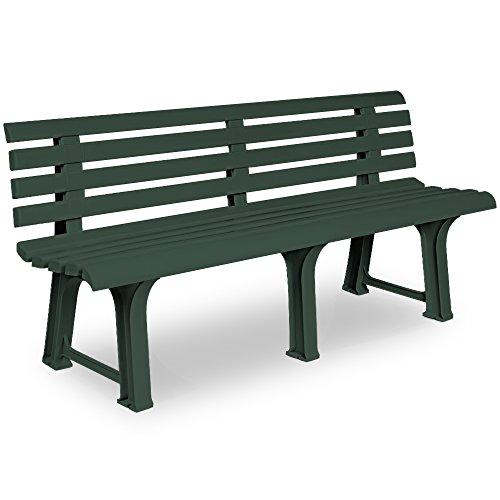 Deuba Gartenbank Orchidea | 3 Sitzer | Kunststoff | strapazierfähig | 145x49x74 cm | Parkbank Bank Balkonbank Gartenmöbel | Farbwahl | grün