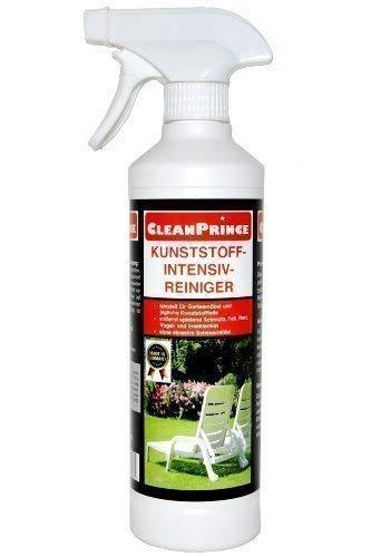 CleanPrince 0,5 Liter Kunststoff-Intensiv-Reiniger Kunststoffreiniger 500 ml Gartenmöbel Insektenkot Witterungsrückstände Gilb Türen Tische Reinigungsmittel Plastik Plaste PVC PP Polypropylen