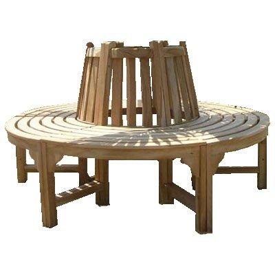 Trendy-Home komplette volle Baumbank aus Teakholz Massivholz Holzbank Gartenbank ca. 150 cm breit Teakholz Rundbank