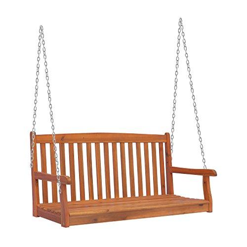 Outsunny Hängebank Gartenschaukel Hollywoodschaukel 2-Sitzer mit Ketten Holz Natur B122 x T61 x H59cm