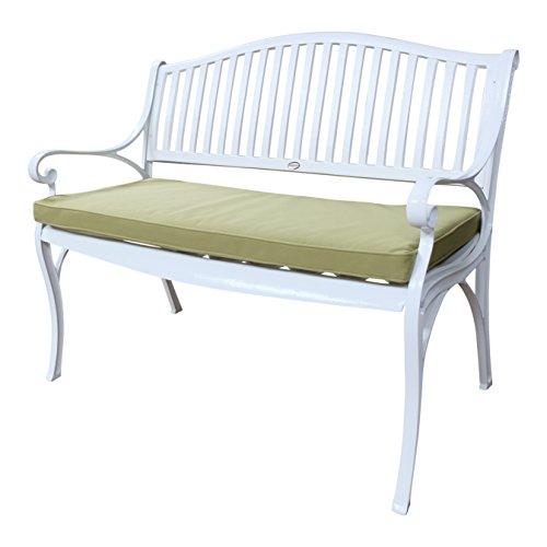 Lazy Susan - GRACE Gartenbank aus Aluminium, Weiß (Grünes Kissen)