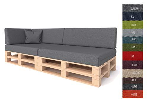 Pillows24 Palettenkissen 6-teiliges Set | Palettenauflage Polster für Europaletten | Hochwertige Palettenpolster | Palettensofa Indoor & Outdoor | Erhältlich Made in EU | Dunkelgrau