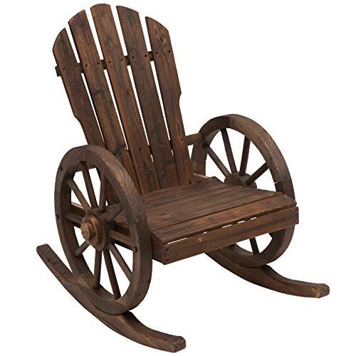 Outsunny Schaukelstuhl, rustikal, aus Massivholz, für Außenbereiche, Hollywoodschaukel, Terrasse oder Garten, 88 x 68 x 97 cm, Farbe Holz gealtert