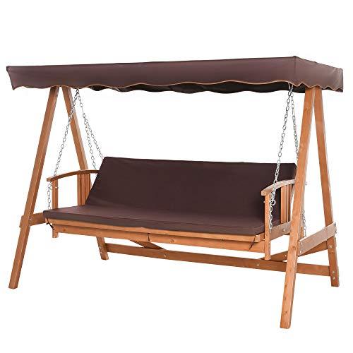 Outsunny Hollywoodschaukel mit Sonnendach Echtholz-Gartenschaukel Schaukelbank Schaukel mit Liege-Funktion aus Tannenholz für 3 Personen Braun