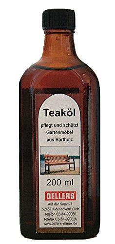 Teaköl | 200 ml | farblos | Möbelpflege aus natürlichen Ölen | Pflegeöl für Hartholz und Exotenholz | wasserabweisendes Holzschutzöl