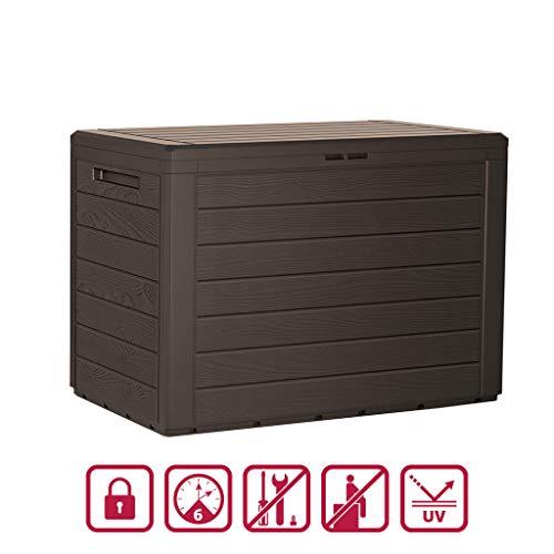 Kreher Kompakte Kissenbox/Aufbewahrungsbox in Braun mit 190 Liter Nutzvolumen. Robust, abwaschbar und einfach im Aufbau!