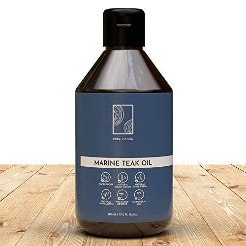 CURA LIGNUM - Hochwertiges Teakholz Öl als Holzpflegeöl, Teaköl für Gartenmöbel farblos, Natürliches Teakholzöl für Teakholz Pflege und Hartholz als Holz Lasur, Teaköl farblos, Teak Öl außen - 500ml