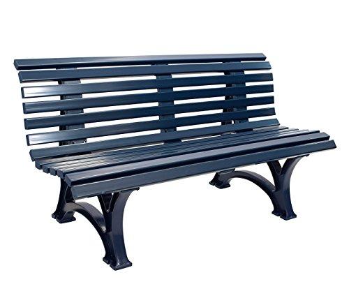 gartenmoebel-einkauf Gartenbank 3-sitzer / 150cm aus Kunststoff dunkelblau, wetterfest