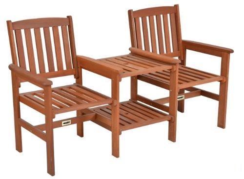 Hecht Tee-Bench aus Meranti-Holz, Gartenbank mit Tisch 2 Sitzer Teebench