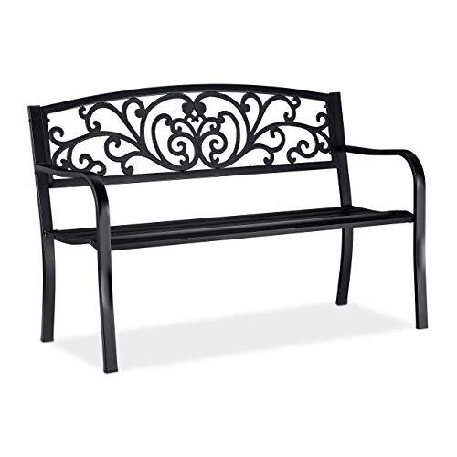 Relaxdays, schwarz Gartenbank, bequemer 2-Sitzer, mit Vintage-Ornamenten, für Terrasse, Balkon, HxBxT 86,5 x 127 x 60 cm