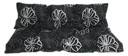 Hollywoodschaukel Comfort Schaukelauflage Kissen 3 Sitzer schwarz Silber Blüten