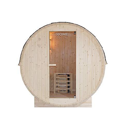 Home Deluxe - Outdoor Fasssauna 2 Personen - Lahti M mit Elektroofen - Holz: Fichtenholz - Maße: BxTxH: ca. 185 cm x 120 cm x 185 cm - inkl. komplettem Zubehör | Gartensauna, Außensauna, Sauna