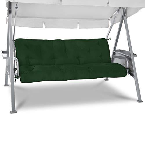 Beautissu Sitzkissen für Hollywoodschaukel 180x50x8cm Flair HS - Garten Auflage mit Zwei Kissen - Polster für Gartenbank Schaumflockenfüllung Polsterauflage Dunkelgrün