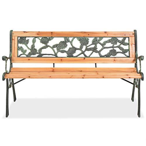 Gartenbank aus Holz, Gartenbank aus Holz und Eisen mit Rückenlehne mit Rosenmuster Gartenbank für den Außenbereich, 122 x 51 x 73 cm