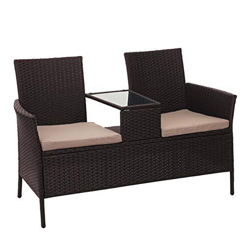 Mendler Poly-Rattan Sitzbank mit Tisch HWC-E24, Gartenbank Sitzgruppe Gartensofa, 132cm - braun, Kissen Creme