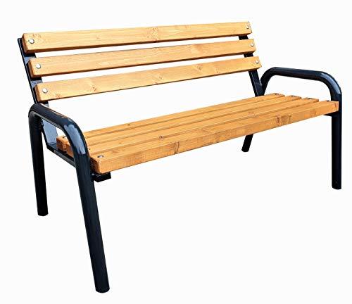 Gartenbank Parkbank Holzbank Massiv Sitzbank Garten Balkon Bank Holz Metall Wetterfest Gartenmöbel Erwachsene und Kinder Outdoor Verschiedene Größen und Farben (Pikolo Pinie, 135)