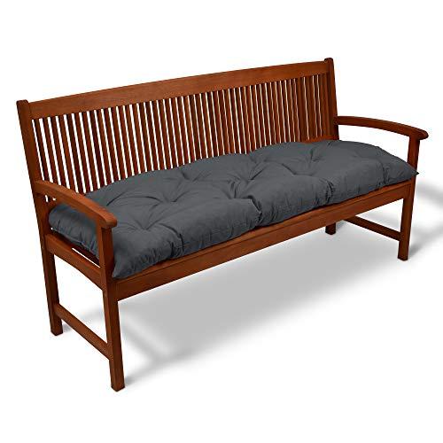 Beautissu Bankauflage Flair BK ca.150x50x10 cm Bequeme Polster Garten-Bank Auflage Sitzauflage Bank in Graphitgrau erhältlich