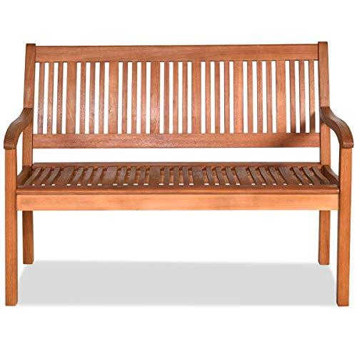 RELAX4LIFE Gartenbank aus Holz, Sitzbank für 3 Personen, Holzbank mit Tragkraft von 360 kg, Parkbank mit Rückenlehne & 2 Armlehnen, Bank für Balkon & Terrasse & Garten, Gartenmöbel 126 x 63 x 91 cm