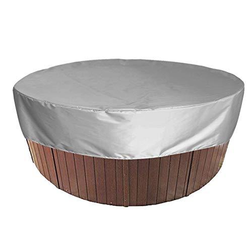 HEWYHAT Runde Whirlpoolabdeckung, wasserdichter, 100% UV- und wetterbeständiger Spa-Schutz, Staubschutzabdeckung für den Pool mit Gummizug und Lufttaschen für die Außenbadewanne,Grau,215×70cm