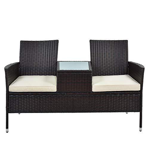 Merax Polyrattan Gartenbank Garten Möbel Set Balkon Wohnzimmer Pool Möbel Set Gespräch-Stuhl Set Inklusive 2-sitzigen Sofa Stuhl, temperierter Glastisch, Loveseat Style