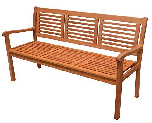 Dynamic24 Eukalyptus Holz Bank 3-Sitzer Holzbank massiv Gartenbank Parkbank Sitzbank