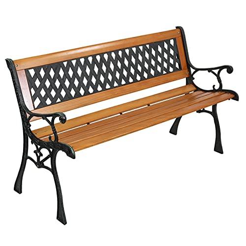 ruihong Gartenbank Parkbank Gartenmöbel Stahlrahmen Holzbank Sitzbank, 2-Sitzer Eisenbank Gartenmöbel