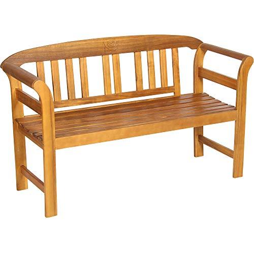 Acamp Batam Gartenbank wetterfest 2-Sitzer | Gartenbank Holz aus FSC®-zertifiziertem Akazienholz | Hochwertiges Gartenbank Teak-Öl Finish | UV-beständige Holzbank Garten mit geschnitztem Rosendekor
