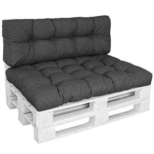DILUMA | Palettenkissen Set Comfort 2-Teilig Anthrazit | 1x Sitzkissen 120x80 cm + 1x Rückenlehne 120x40 cm | Wasser- & Schmutzabweisender Bezug
