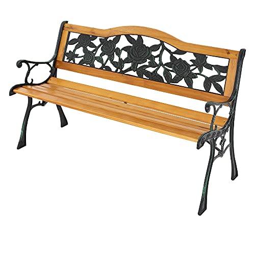 ML-Design Gartenbank Parkbank 3-Sitzer Massivholzbank mit Rücken- & Armlehnen, Rosenmotiv, 126x77x50 cm, wetterfeste Sitzbank Gartenmöbel, Seitenelemente aus Metall/Gusseisen, für Garten und Terrasse