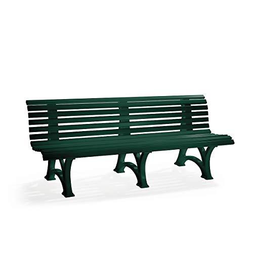 BLOME Parkbank aus Kunststoff - mit 13 Leisten - Breite 2000 mm, moosgrün - Bank Gartenbank Kunststoff-Bank Kunststoff-Bänke Ruhebank