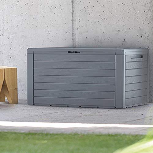 FineHome 280 Liter Auflagenbox Kissenbox Gartenbox Gartentruhe schöne Holzoptik für Polsterauflagen Kunststoff Anthrazit wasserdicht