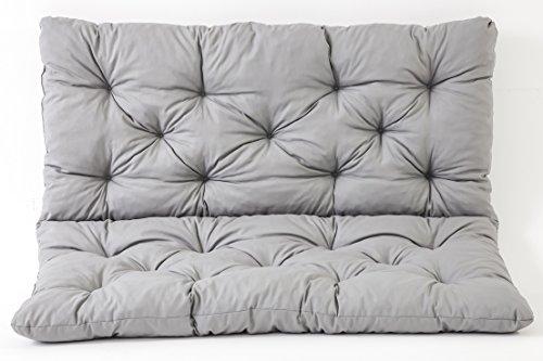 Ambientehome 90266 2er Bank Sitzkissen und Rückenkissen Hanko Bankauflage, grau, ca 120 x 95 x 8 cm