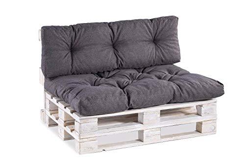 Palettenkissen Palettenauflagen Sitzkissen Rückenlehne Gesteppt PP (Set (Sitzkissen 120x80 +Rückenlehne 120x40), Anthrazit)