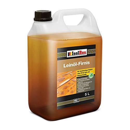 Isolbau Leinöl-Firnis - Doppelt gekochtes Holzöl als natürlicher Holzschutz für Möbel - Wasserabweisend, 5 Liter