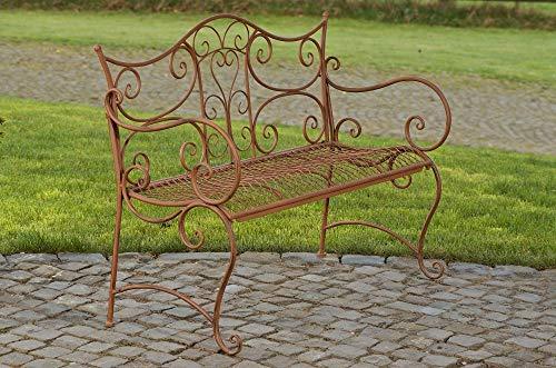 CLP Gartenbank Tara aus lackiertem Eisen I Sitzbank im Jugendstil I Eisenbank mit 2-3 Sitzplätzen I erhältlich, Farbe:antik braun