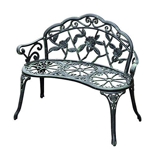 Outsunny Gartenbank Parkbank Sitzbank Bank Gartenmöbel 2-Sitzer Metall 100 x 54 x 78 cm