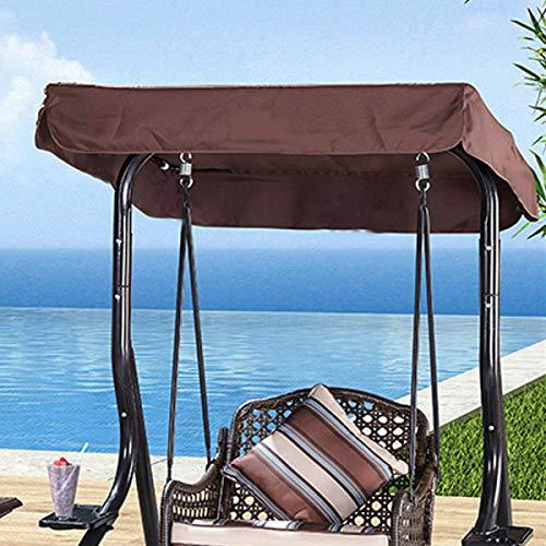 TEET Abdeckung für Hollywoodschaukel, 3-Sitzer, Ersatzbezug, wasserdicht, für Gartenbank, Terrasse (Größe: 148 x 185 cm, Farbe: Kaffeebraun)