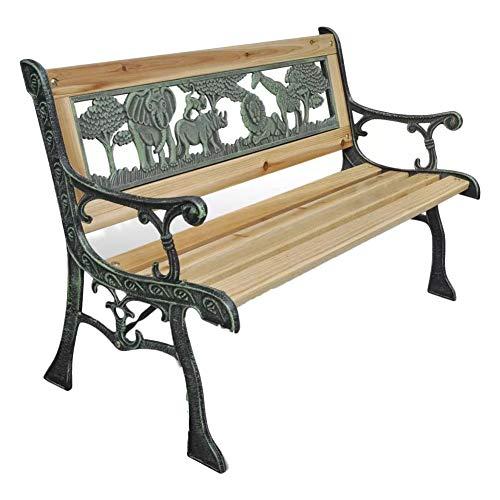 EBTOOLS Gartenbank, 2-Sitzer Outdoor Bänke mit Armlehnen Stahl Holz Kinder Gartenbänke für Zuhause Bronze und Holz, 37 x 84 x 50 cm
