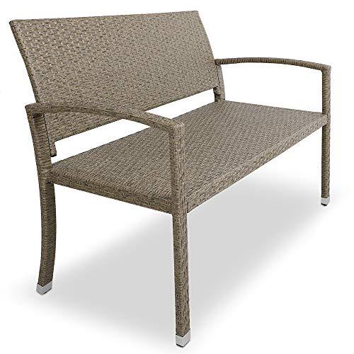 Deuba Gartenbank Poly Rattan Grau Creme 2-Sitzer UV-Lichtbeständig Sitzkomfort Parkbank Balkon Garten Möbel Sitzbank