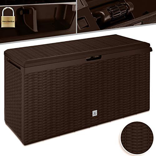 Kesser® Auflagenbox Kissenbox 290 Liter mit Rollen klappbarer Deckel Haltegriffe Rattanoptik Gartenbox, Braun