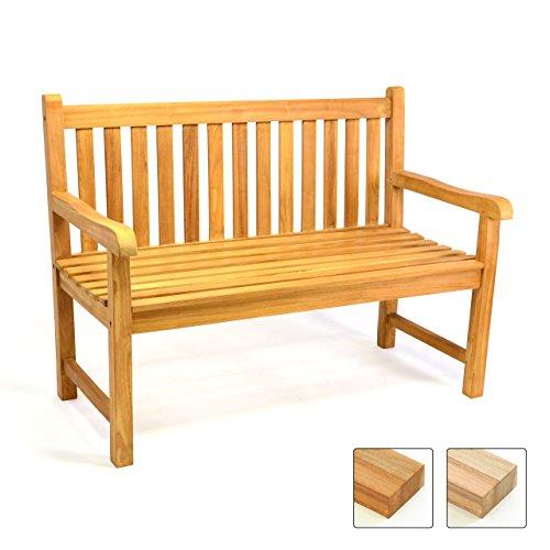 Divero 2-Sitzer Bank Holzbank Gartenbank Sitzbank 120 cm – zertifiziertes Teak-Holz behandelt massiv – Reine Handarbeit – wetterfest (Teak behandelt)