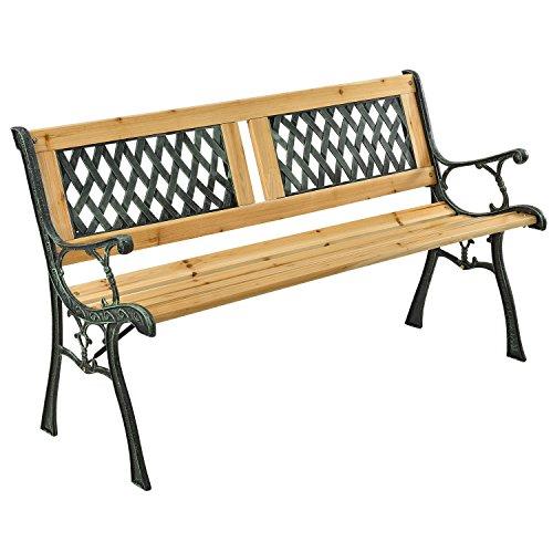 ArtLife 2-Sitzer Gartenbank Sanremo aus lackiertem Holz & Gusseisen | Rückenlehne + Armlehnen | Sitzbank Holzbank Gartenmöbel