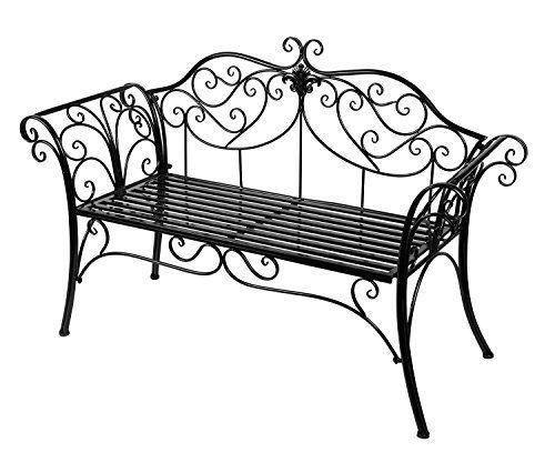 hlc 133 * 49 * 90 cm Metall Bank Gartenbank Ruhebank doppelte Sitz mit Rücken aus Eisen Schwarz Belastbarkeit 200kg