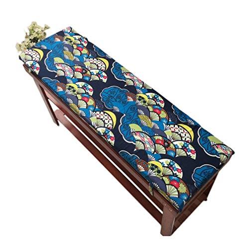 Gartenbank im Freien mit Befestigungsgurt Sitzkissen für Gartenbank Gartenmöbelkissen aus Holz 4 cm dick waschbar (G 120x35 cm)